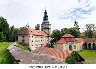Baroque cistercian Plasy Monastery, Plzen region, Czech Republic, sunny summer day