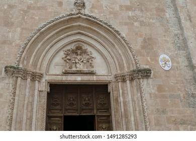 Baroque columns of Church of St Francis Assisi, Ostuni, Puglia, Italy