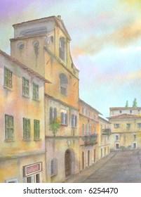 """Baroque Communal Palace, Deruta, Perugia, Umbria, Italy # 94-028; 28x43 cm. = 11""""x17"""""""