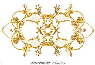 Baroque composition with golden roses