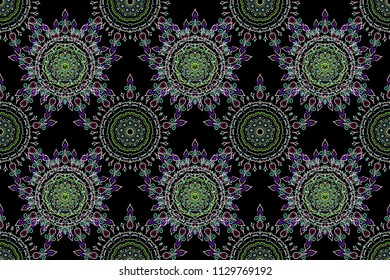 Baroque damask vintage green and blue raster seamless pattern background. Wallpaper with antique medieval baroque abstract ornament. Damask pattern in baroque style.