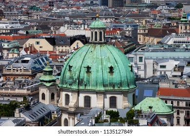 Baroque dome of St. Peter's Church - Peterskirche in city of Vienna, Austria