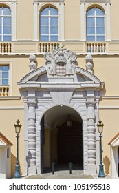 Baroque Entrance and arms of Prince. Prince's Palace of Monaco is official residence of Prince of Monaco. Principality of Monaco is a sovereign city state, located on French Riviera in Western Europe.
