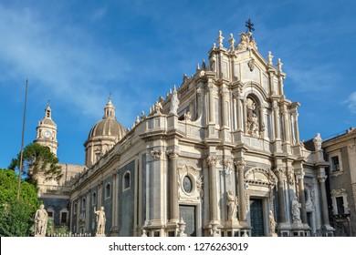 Baroque facade of the Cathedral (Duomo) of Saint Agatha. Catania, Sicily, Italy