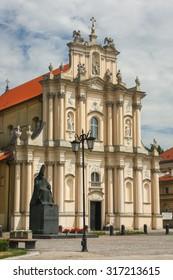 Baroque facade of church in Warsaw, Poland