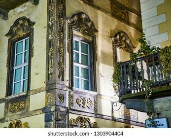 Baroque facade of a typical European building. Turin, Piedmont, Italy.