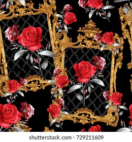 Baroque and flowers pattern.for textile, wallpaper, pattern fills, covers, surface, print, gift wrap, scrapbooking, decoupage.Seamless pattern