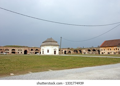 Baroque Fortress church of St. Ann, part of the Fortress of Brod, a fortress in Slavonski Brod, Croatia. Fortress was constructed in the 18th century as a defense against the Ottoman Empire