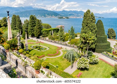 Baroque garden of island Bella - isola Bella, is one of the Borromean Islands of Lake Maggiore in Piedmont of north Italy.