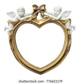 baroque gilded fhoto frame in form of heart with cupids on isolated background
