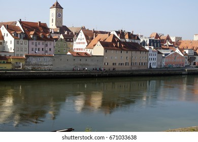 Baroque houses on the riverfront of  Regensburg, Germany