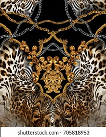 baroque leopard  background