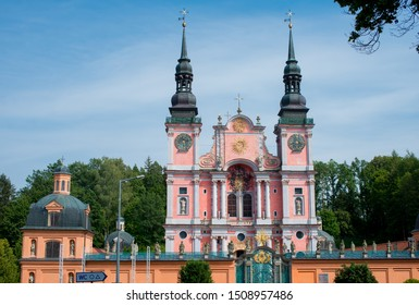 Baroque Marian Sanctuary in Swieta Lipka in warm light of sunset, Mazury - one of the most famous churches in Poland