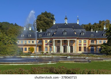 baroque palace Pillnitz is located near Dresden on the River Elbe, Saxony, Germany