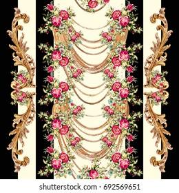 Baroque pattern.. Flowers print..