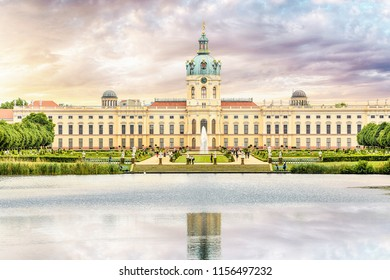 baroque and rococo Charlottenburg palace, view with pond reflections. Berlin, Germany