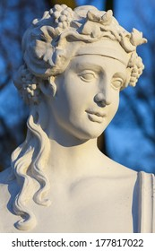 Baroque sculpture of a young woman, bust. No property release necessary, because it was shoot from a public street, sculpture by Chrysostom Redler eighteenth century sculptor.