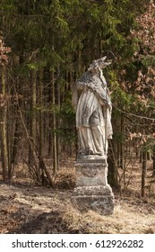 Baroque statue of the saint in the forest near the town of Trebic in the Czech Republic