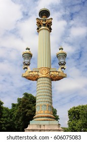 Baroque street lamp in Place de la Concorde. Paris, France