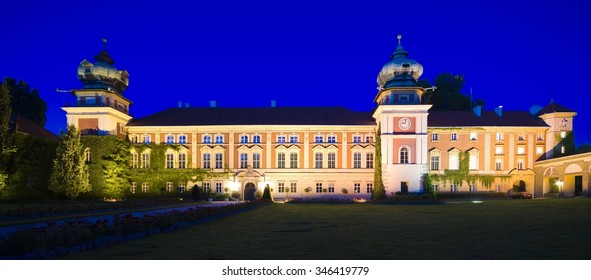 Baroque style castle in Lancut at dusk, Poland