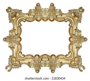 baroque style gold frame on white