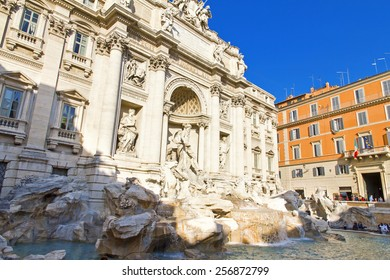 The Baroque Trevi Fountain in Rome, Italy