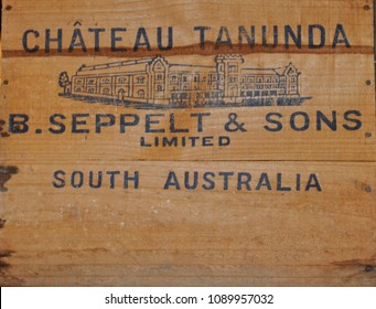 Barossa Valley, South Australia/Australia - January 01, 2018: Sign of Chateau Tanunda vintage winery on a wooden barrel. Vintage sign on the wood