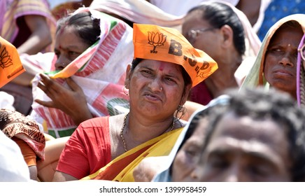 Barpeta, Assam, India. 20 April 2019. Supporters during an election campaign of BJP leader Himanta Biswa Sarmah  in support of the Bodoland People's Front (BPF) party candidate Pramila Rani Brahma.