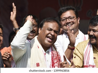 Barpeta, Assam, India. 20 April 2019. BJP leader Himanta Biswa Sarmah dances  during an election campaign rally in support of the Bodoland People's Front (BPF) party candidate Pramila Rani Brahma.