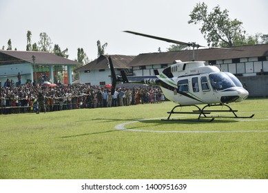 Barpeta, Assam, India. 20 April 2019. BJP leader Himanta Biswa Sarmah arrives at an election campaign rally in support of the Bodoland People's Front (BPF) party candidate Pramila Rani Brahma.