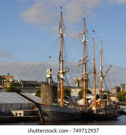 Barque 'Kaskelot' moored by Waterfront Square, Bristol, UK. 25Sep17.
