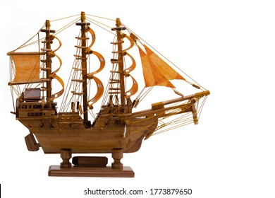 Barque ship gift craft model wooden,isolated white background.