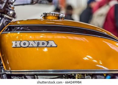 BARRA BONITA, BRAZIL - JUNE 17, 2017: Vintage motorcycle in exhibition