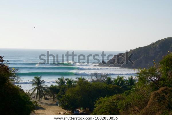 Barra de la cruz, Oaxaca on a day when the swell was double over head