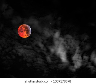 Barra de Navidad/Jalisco/Mexico - January 20 2019: Super Wolf Blood Moon Lunar Eclipse
