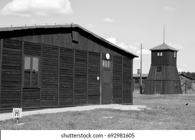 barrack and guard tower in concentration camp Majdanek