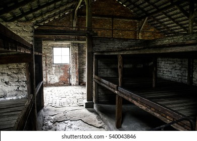 Barrack inside living room at concentration camp Auschwitz Birkenau KZ Poland