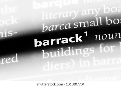 barrack word in a dictionary. barrack concept.