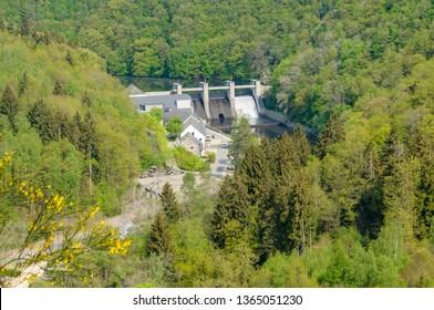 BARRAGE DE NISRAMONT, LA ROCHE-EN-ARDENNE, BELGIUM - APRIL 23, 2011: Aerial view of the Barrage de Nisramont, the dam in the river Ourthe near La Roche-en-Ardenne, Belgium.