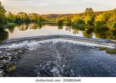 Barrage and weir of the river Regen in Markt Regenstauf in the Upper Palatinate, Germany - Shutterstock ID 2058850640