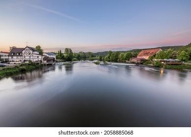 Barrage and weir of the river Regen in Markt Regenstauf in the Upper Palatinate, Germany - Shutterstock ID 2058885068