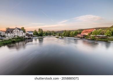 Barrage and weir of the river Regen in Markt Regenstauf in the Upper Palatinate, Germany - Shutterstock ID 2058885071