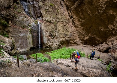 Barranco del Infierno hiking trail and it's waterfall in Adeje, Tenerife, Spain.