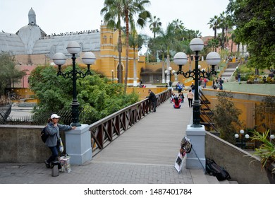 BARRANCO,LIMA.PERU. AUGUST 2018  Walking through the Barrio de Barranco in Lima, and arriving at its famous Bridge of Sighs.