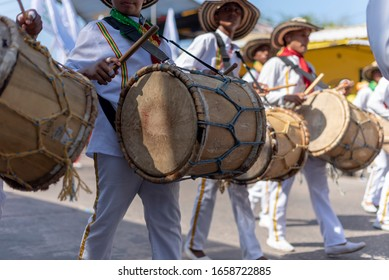 BARRANQUILLA, ATLÁNTICO COLOMBIA. 23 of February 2020.  Traditional Colombian drum at the Barranquilla Carnival