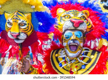 BARRANQUILLA , COLOMBIA - FEB 07 : Participant in the Barranquilla Carnival in Barranquilla , Colombia on February 07 2016. Barranquilla Carnival is one of the biggest carnival in the world