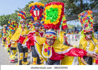 BARRANQUILLA , COLOMBIA - FEB 07 : Participants in the Barranquilla Carnival in Barranquilla , Colombia on February 07 2016. Barranquilla Carnival is one of the biggest carnival in the world
