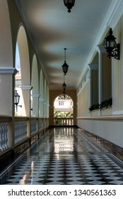 BARRANQUILLA, COLOMBIA - FEB 2:  Empty hallway in the classic Hotel El Prado in Barranquilla, Colombia on February 2, 2019.