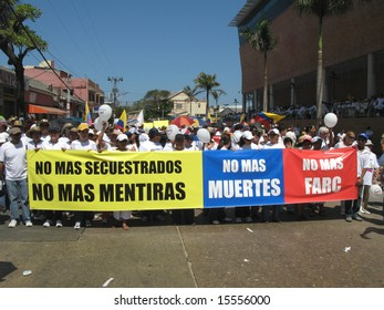 BARRANQUILLA, COLOMBIA- FEBRUARY 04: People standing in a row on a protest rally in the city of Barranquilla. Barranquilla's meeting in protest February 04, 2008 in Colombia.
