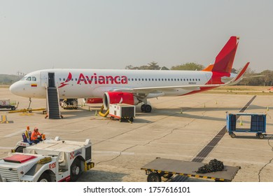 Barranquilla, Colombia - February 17, 2020: Colombian carrier Avianca's A320 NEO parked at Ernesto Cortizos International Airport in Barranquilla, Colombia